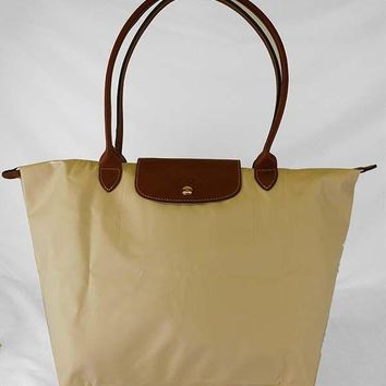 **LONGCHAMP Le Pliage Light Khaki Nylon /Brown Leather Shoulder Bag Msrp