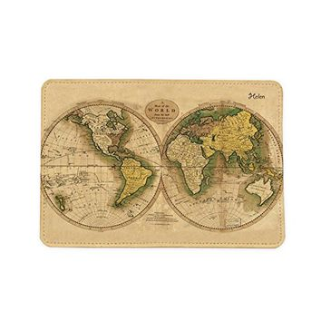 Vintage World Map [Name Customized] Leather Passport Holder - Passport Protector - Passport Cover - Passport Wallet_Mishkaa