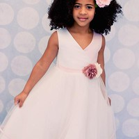 Cross Over Bodice Girls Dress w. Tiered Tulle Skirt in Rose, Ivory or White 2T-14