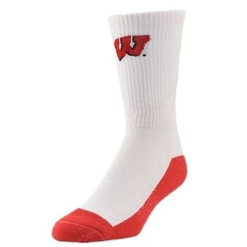 Youth Mojo Wisconsin Badgers Champ 1/2-Cushion Performance Crew Socks | null