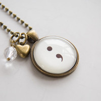Semicolon Necklace - Word Jewelry - Inspirational Pendant - Text Jewelry - Survivor Jewelry - Inspire - Suicide Awareness - Gift for Women