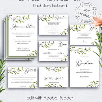 Insert Card Greenery Wedding Set, Invitation, Rustic, Printable, Watercolor, Editable RSVP, Directions, Reception, Web Address Card