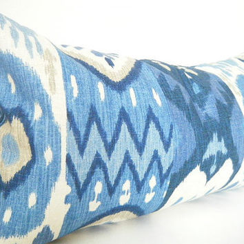 Blue Ikat Pillow Covers, Lumbar Pillow Cover, Navy Blue and Light Blue, Tan, White 12x22 Inch or 18 Inch