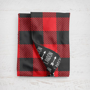 Buffalo Plaid Baby Blanket with Name Perfect for Girl Nursery Decor Perfect for Boy Nursery Decor Woodland Nursery Lumberjack Nursery