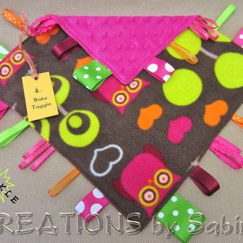 Baby Crinkle Tag Blanket, Taggie Sensory Toy, Ribbon Blanket, Lovie, Blankie, Owls Hearts, pink lime green orange brown, READY TO SHIP 161