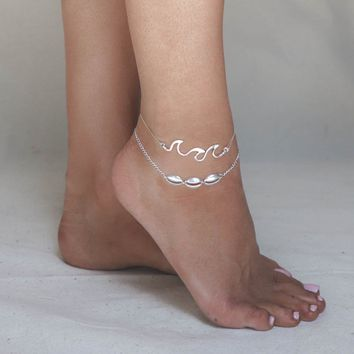 Cassie Silver Seashell Layered Anklet