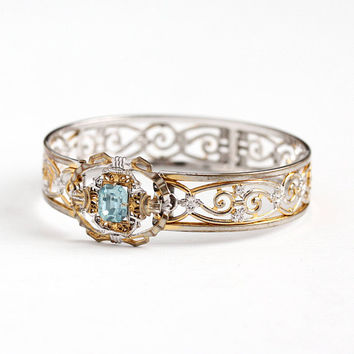 Vintage Art Deco Light Blue Glass Rhinestone Filigree Two Tone Bracelet - 1930s Silver & Gold Tone Buckle Bangle JJ White Costume Jewelry