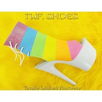 """Adore 1018RBG  Rainbow Glitter Ankle Boot - White 7"""" High Heel Boots"""