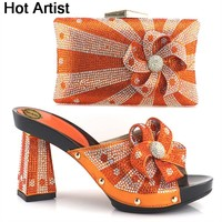 Hot Artist Nice Design Italian Shoes With Matching Bags Latest Rhinestone African Women Shoes and Bags Set For On Sale YH-07