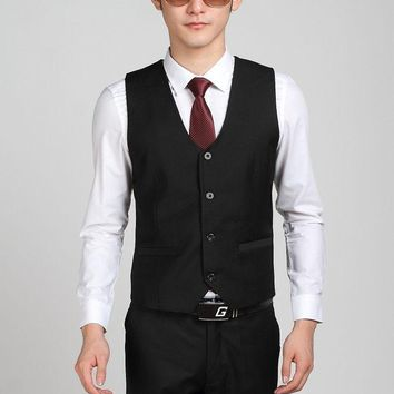 DCCKWQA Hot Selling Business Formal Black Suit Vest For Men Party Prom Vest Bestman Groom Wedding Vests Terno Colete Masculino