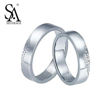 SA SILVERAGE Real 925 Sterling Silver Couples Rings for Women And Men Fine Jewelry Kiss Lip 2017 Hot Sale