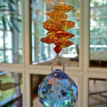 "Fire and Ice Long - 10"" Blue Crystal Ball (30mm) Topped with Red, Orange, and Yellow Crystal Octagons, Swarovski Crystal Suncatcher"