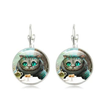 Alice In Wonderland Stud Earrings Cheshire Cat Glass Cabochon Silver Plated Jewelry French Lever Back Earrings for Women Gift