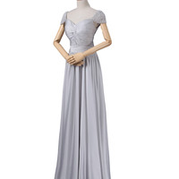 Modest Gray Chiffon Long Prom Dresses