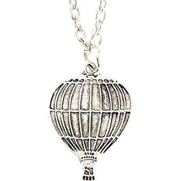 Hot Air Balloon Necklace Vintage Silver Tone Charm Pendant NP72 Fashion Jewelry
