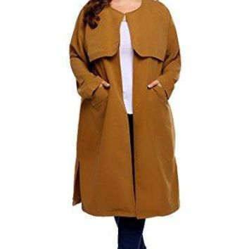 Winter Women's Plus Size Casual Long Sleeve Outerwear Trench Coat Cardigan