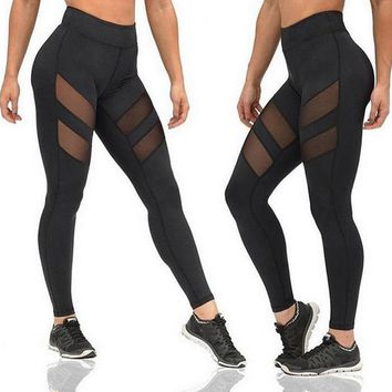 Women Mesh Splice Yoga Fitness Sports Slim Fit Pants Sportswear Clothes Trousers B2Cshop