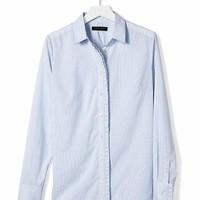 Riley-Fit Pleated Ruffle Shirt | Banana Republic