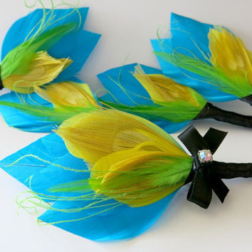 Boutonniere Wedding Groom Groomsmen Aqua Green Yellow Peacock Feather Boutonniere Lapel Pin Buttonhole