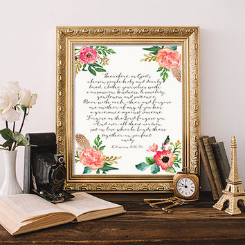 Colossians 3:12-14 wedding Bible verse Scripture print office decor  decor bridal shower wedding sign wedding verse INSTANT DOWNLOAD POSTER