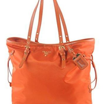 Prada Large Saffiano Leather Trim Nylon Tessuto Papaya Shoulder Bag Shopper Tote Hand Bag