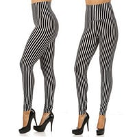 New ! VERTICAL BLACK STRIPED HIGH WAISTED Fashion Leggings S M L