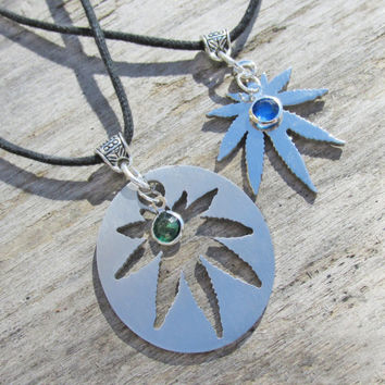 His and Her Jewelry, Stainless Steel 2 piece Pot Leaf Necklaces, Best Friends, Satin and Shiny Finish, MJ Leaf, Laser Cut Steel Pendants
