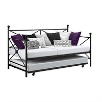 Twin Size Contemporary Daybed & Trundle Set in Black Metal Finish