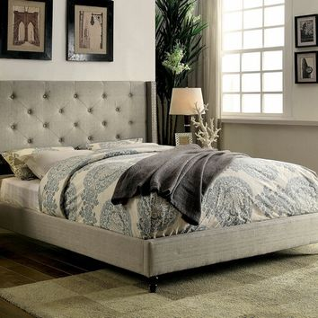 Furniture of america CM7677GY Anabelle collection warm gray fabric upholstered and tufted tall queen headboard bed frame set