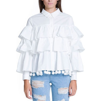 Layered Blouse With Pom Pom Trim 80030T6RR