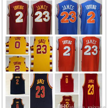 Best Quality Retro Shirts 0 Kevin Love 2 Kyrie Irving Jersey 23 LeBron James Blue White Red Yellow Throwback Hardwood Classics Jersey