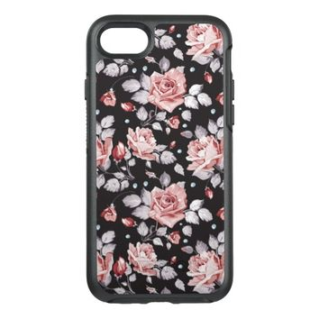 Vintage Pink Floral Pattern OtterBox Symmetry iPhone 7 Case