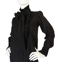 1970s Yves Saint Laurent Black Cotton Tuxedo Shirt