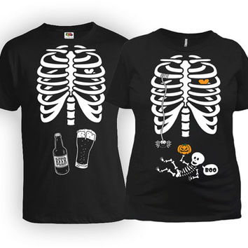 Pregnant Halloween Costumes Couple Clothes Expecting Parents Pregnancy Announcement T Shirt Maternity Shirt Mom To Be New Daddy MAT-20-166