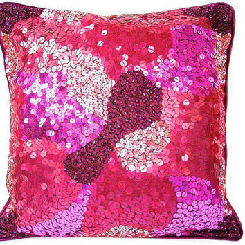 Pink Sequin Pillow, Plum Throw Pillow, Pink Cushion, Decorative Pillow, Sequin Throw Pillow, Cushion Cover, Pink, Plum, Wine- Dazzling Pink