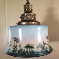 Antique Pendant Hanging Light Large Hand Painted Shade Made by Albert Wahle Co NYC 1920s