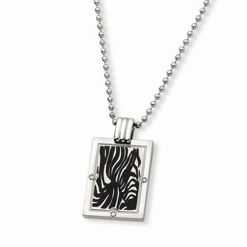 White Diamond & Enamel Dog Tag Pendant Necklace in Titanium - Lobster Claw Bead