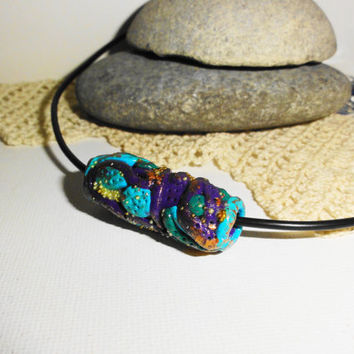 Polymer clay necklace, Purple and turquoise necklace, Polymer clay pendant, Original idea, One-of-a-kind gift, Handmade only, Gifts for her