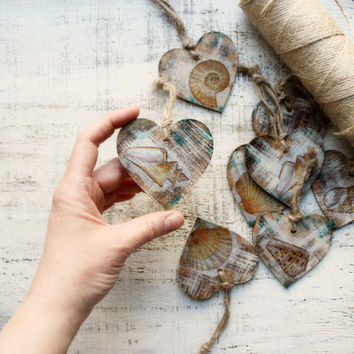 Nautical wedding favors wooden heart ornaments rustic bridal shower seashells sea beach wedding boho wedding favors