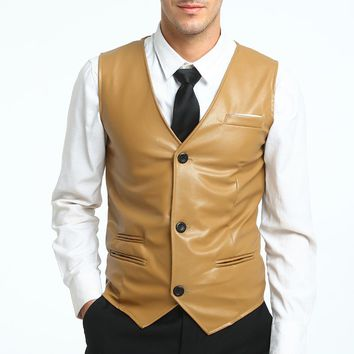 New Europe Design Men Blazer Vest Slim Fit Suits Simple Slim washed PU leather Waistcoat Vests Fashion Solid color