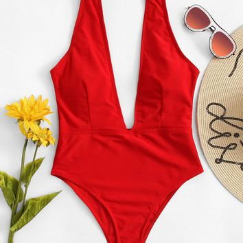 Deep V One Piece Swimsuit