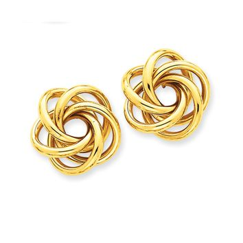 19mm Polished Love Knot Earrings in 14k Yellow Gold