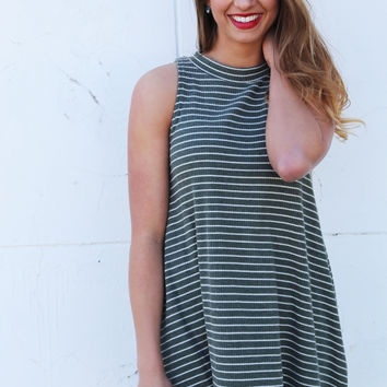 Out Of My Mind Sleeveless Tunic {Olive}