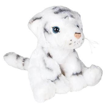 8 Inch White Tiger Stuffed Animal Plush Floppy Zoo Species Collection