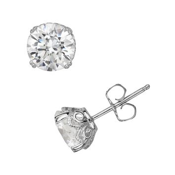 Emotions Sterling Silver Solitaire Earrings - Made with Swarovski Zirconia (White)