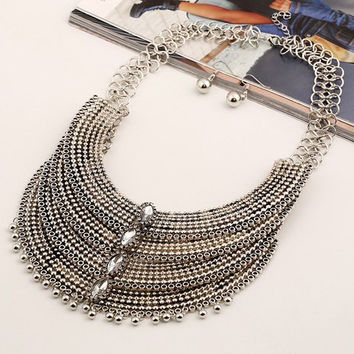 Retro Faux Gem Multilayer Bead Necklace and Earrings