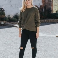 Front Knot Sweater, Olive