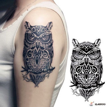 Temporary tattoos large black owl arm fake transfer tattoo stickers hot sexy men women spray waterproof designs (Size: L, Color: Black & Green) = 5660899201