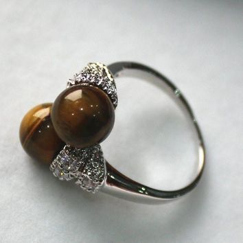 VINTAGE NATURAL fashion & charming 8mm tiger eye stone ring RINGS for women sterling-silver-jewelry brinco boucle ringe