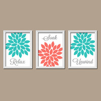 Coral Turquoise Bathroom Wall Art Canvas Artwork Relax Soak Unwind Flower Choose Colors Set of 3 Prints Shower Curtain Decor Three